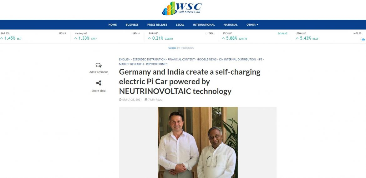 Germany and India create a self-charging electric Pi Car powered by NEUTRINOVOLTAIC technology